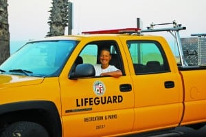 Dawn Kelley in Lifeguard Truck