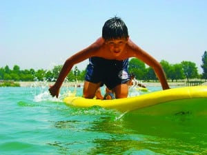 Kid on surfboard at Bonelli Park