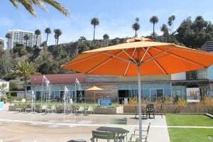 The Annenberg Community Beach House includes a free shaded seating area with a water feature.