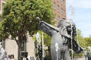 The Lion's Fountain offers hidden splashy fun in Culver City.