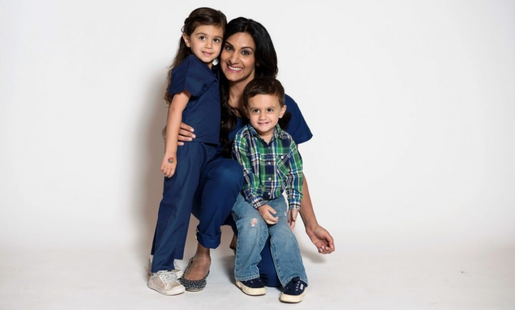 Neela Sethi Young, M.D., with daughter Malika, 4, and son Aren, 2, combined her medical experience and fashion sense to create Jaanuu scrubs.