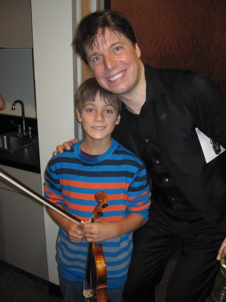 Wesley meets famous violinist Joshua Bell backstage at the Hollywood Bowl. PHOTO COURTESY WELLS FAMILY