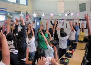 Nishi and partners teach students at Sunrise Elementary about their bodies. PHOTO COURTESY KHALILI CENTER