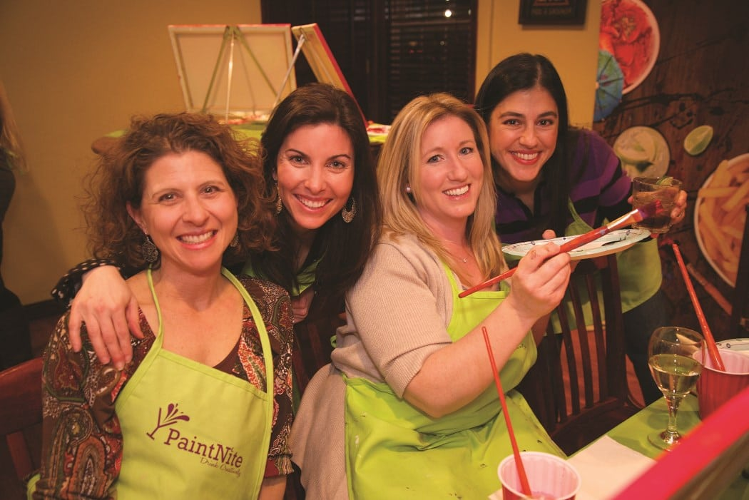 Doing something creative, like getting together for a Paint Nite party, can be a great way to catch up. PHOTO COURTESY PAINT NITE