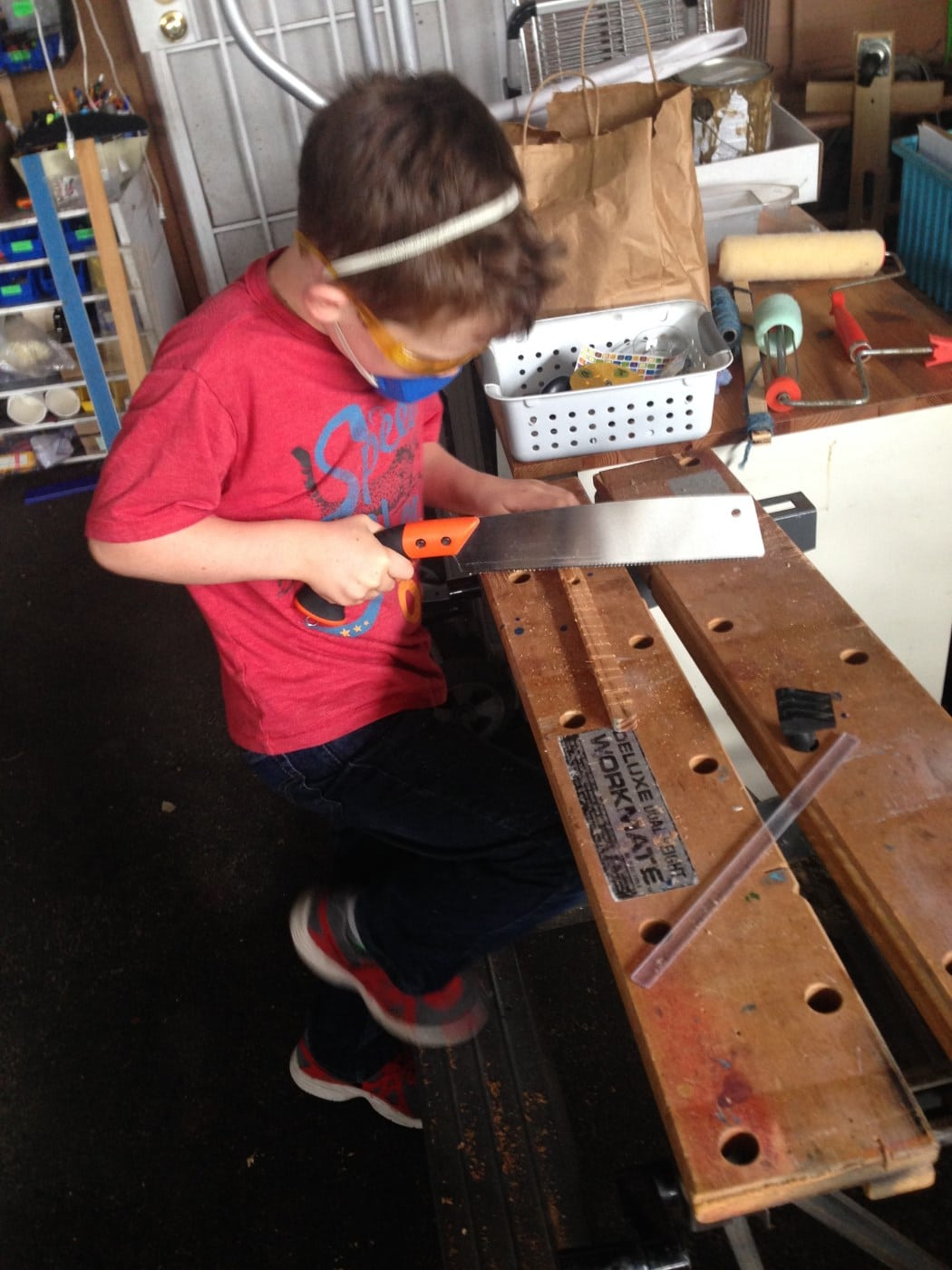 At the Rediscover Center, kids build and craft with an ever-changing selection of reclaimed materials. PHOTO BY ERIN MAHONEY HARRIS