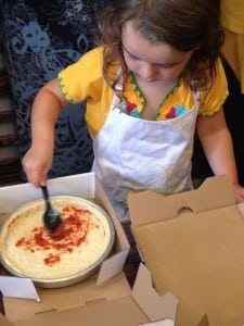 During parties at Fresh Brothers, kids of all ages learn to make their own individual pizzas. PHOTO BY SANAZ WHETTER