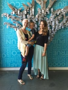 Max's Mom Audra Wilford, left, with Max (AKA: SuperMax) and The Honest Company Founder Jessica Alba.