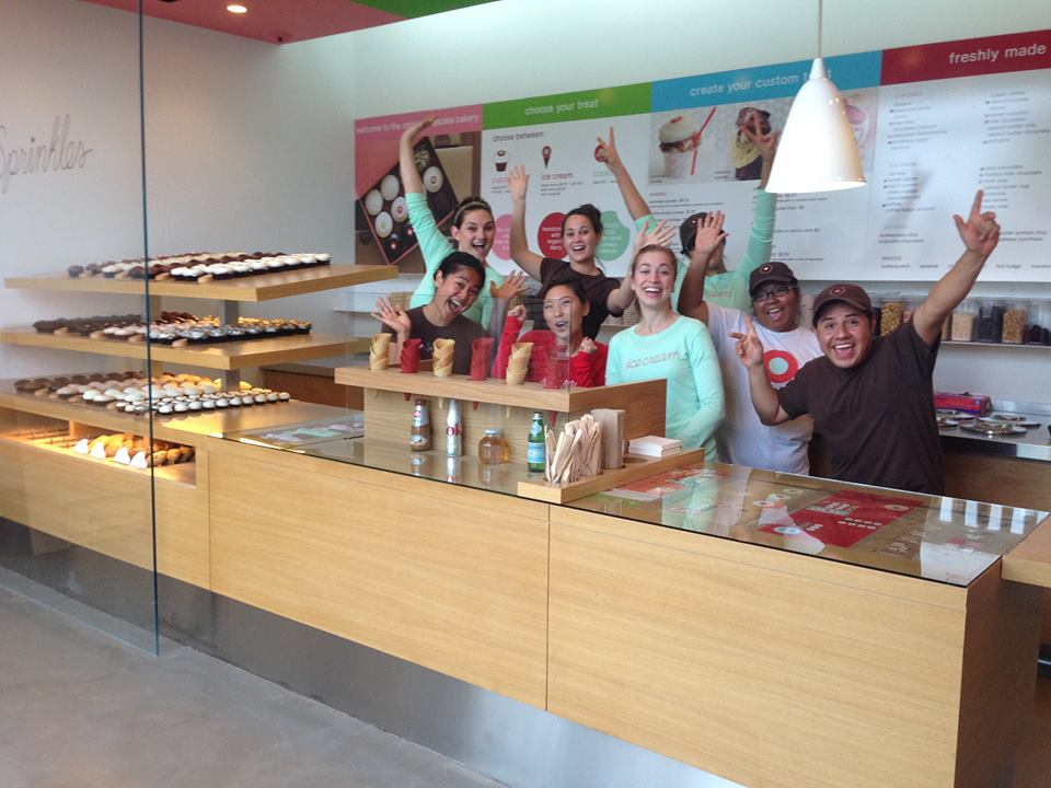 Members of the Sprinkles team get ready for their grand reopening at the Westlake location. PHOTO COURTESY SPRINKLES