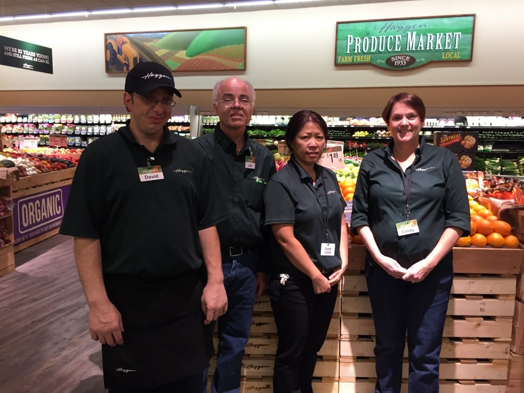 A few days after the conversion of the Vons in Woodland Hills, the Haggen staff gave us a tour of their new store. From left: David Norris, produce manager, Leo Dempsey, store director, June Booth, assistant store director, Cindy Braddy, district manager.