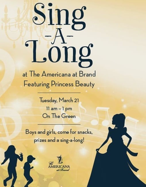 Sing-A-Long with Princess Beauty at The Americana at Brand