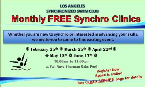 Los Angeles Synchronized Swim Club's Free Synchro Clinic