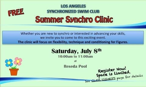 Los Angeles Synchronized Swim Club's Free Synchro Clinic