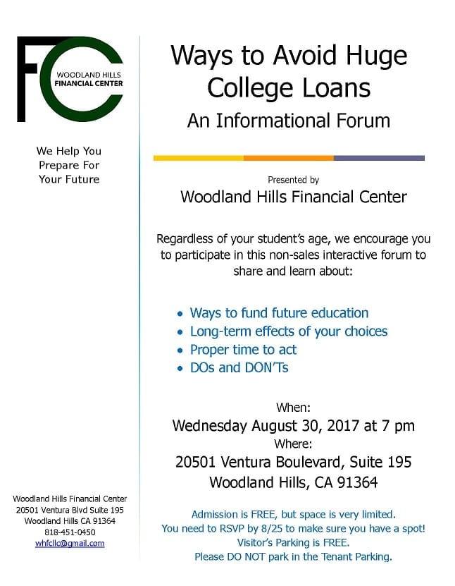 Ways to Avoid Huge College Loans Workshop