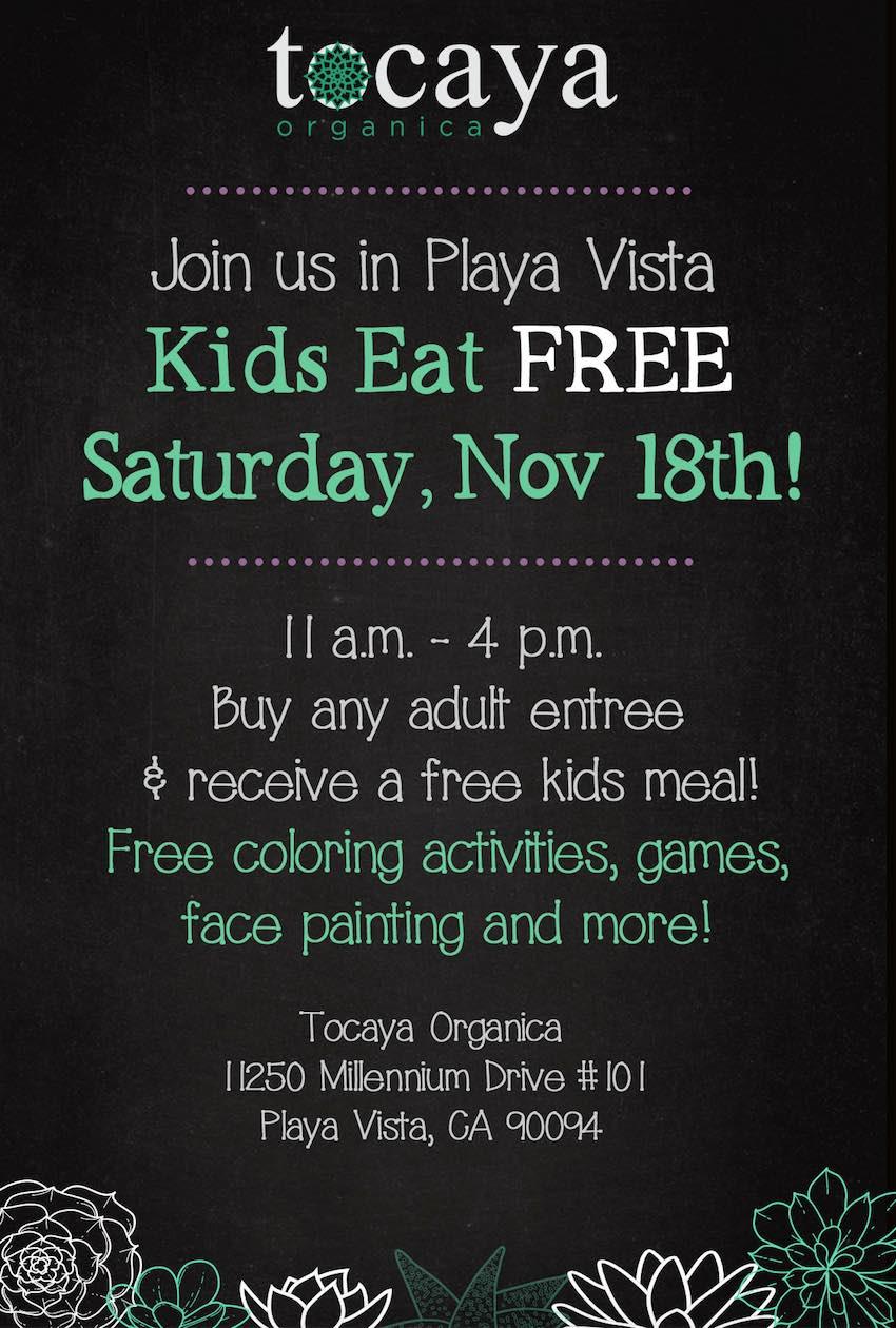 Tocaya Organica Kids Eat Free Event