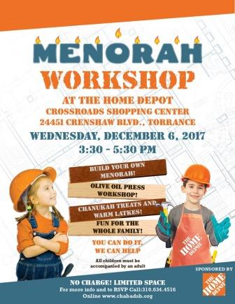 Menorah Workshop at Home Depot!
