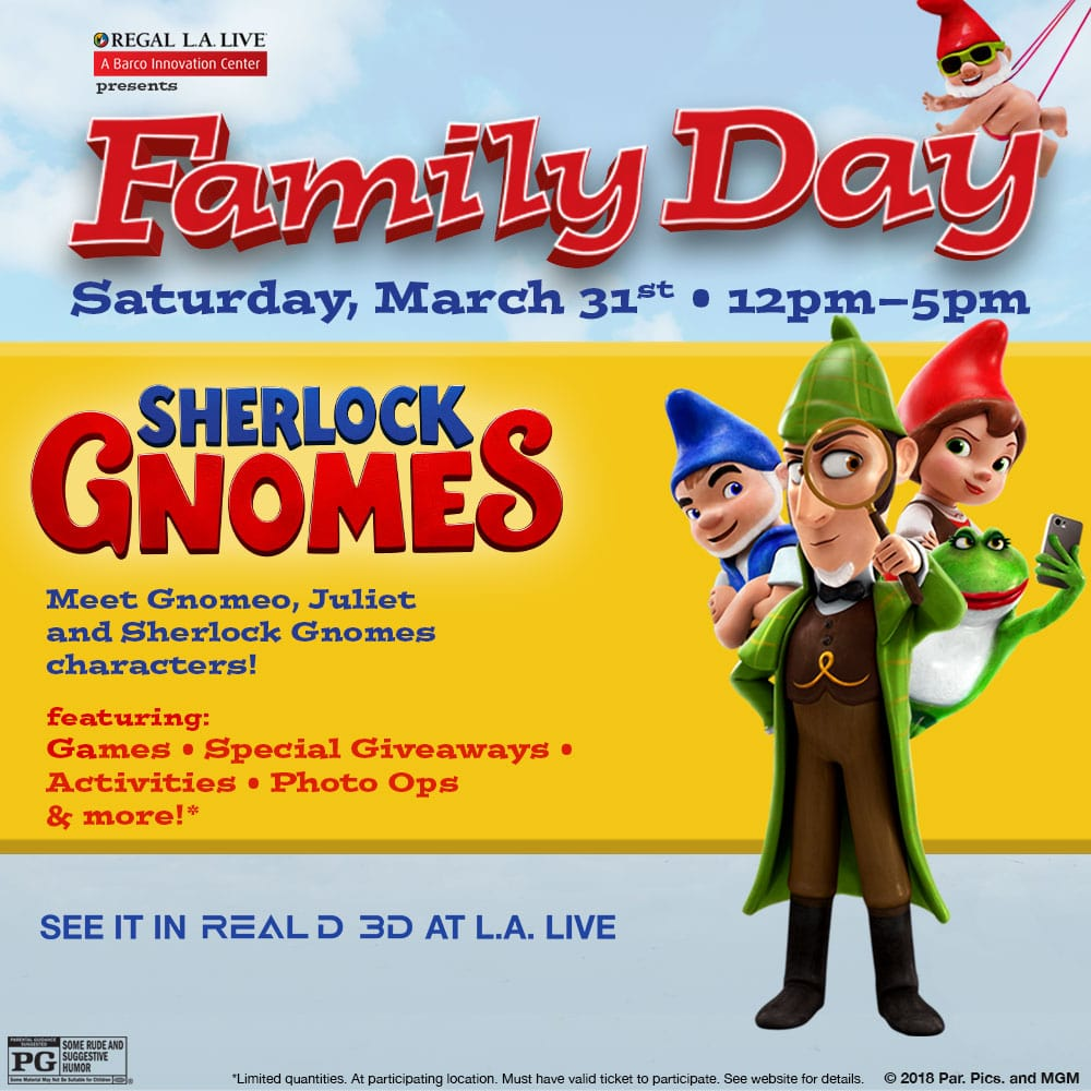 Family Day featuring Sherlock Gnomes