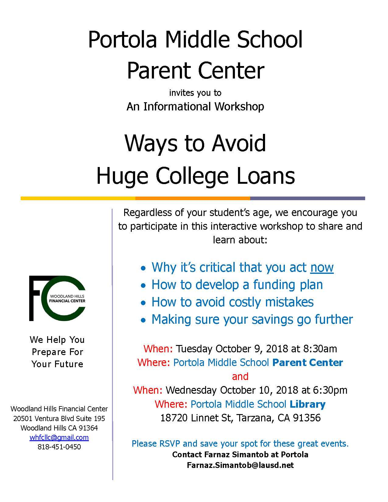 Ways to Avoid Huge College Loans - An Informational Workshop