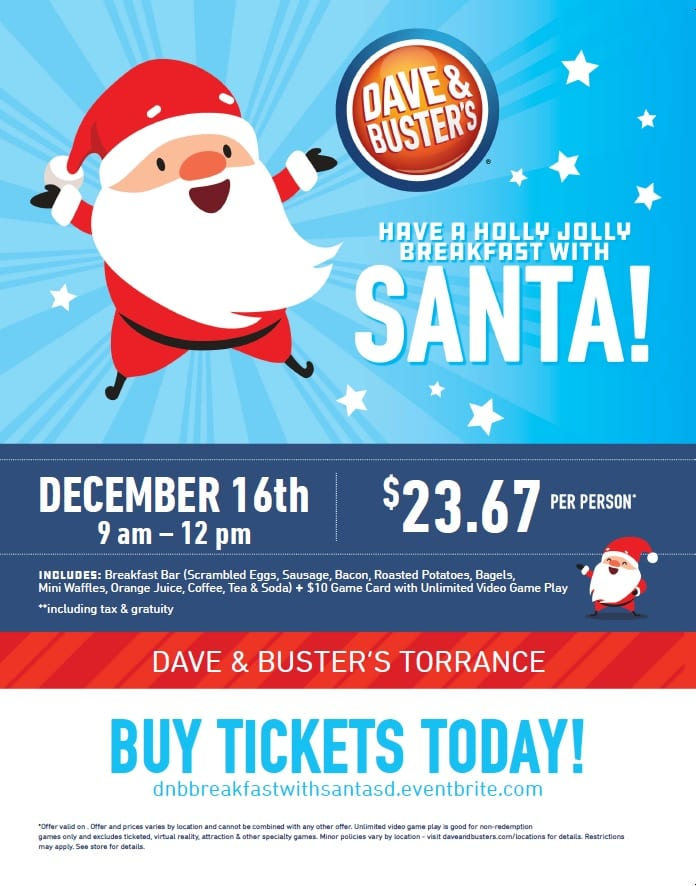 Breakfast with Santa at Dave & Buster's Torrance