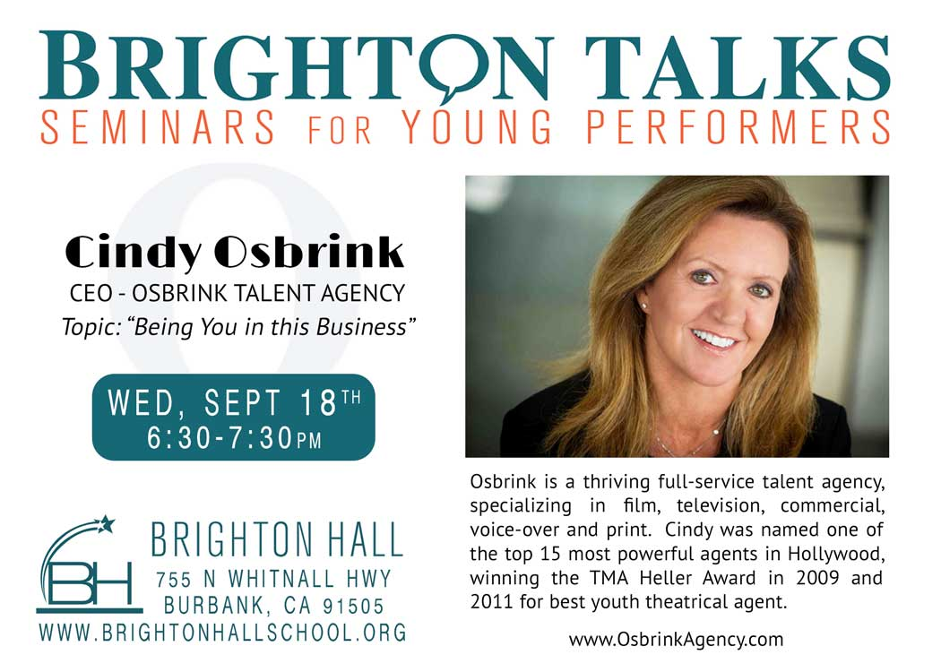 """Talent Agent Cindy Osbrink Talks about """"Being Yourself in this Business"""""""