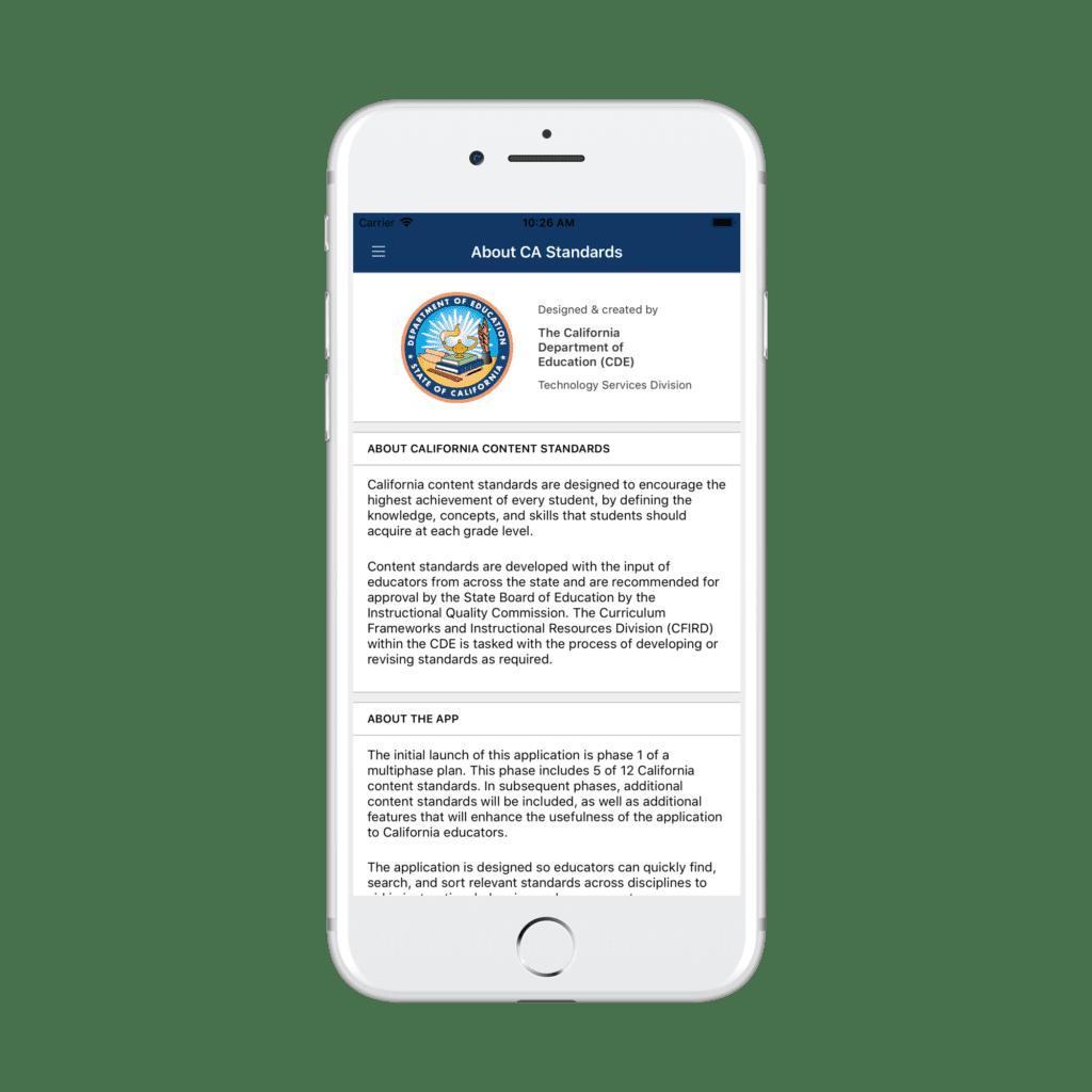 California Content Standards app
