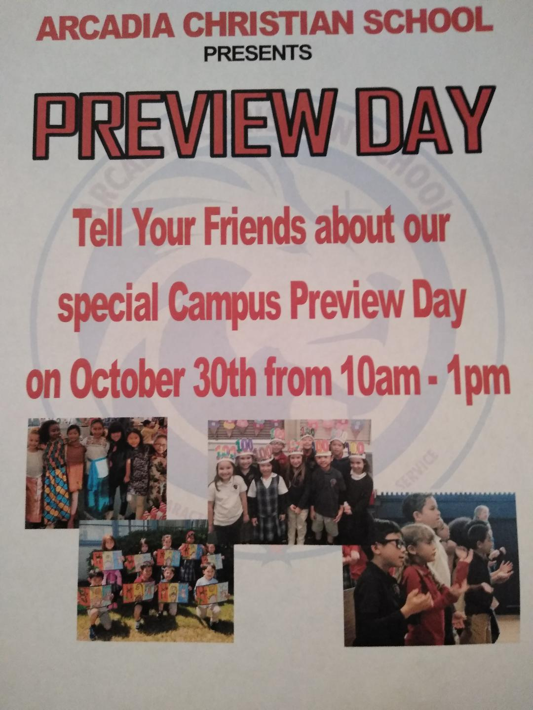 Arcadia Christian School Preview Day!