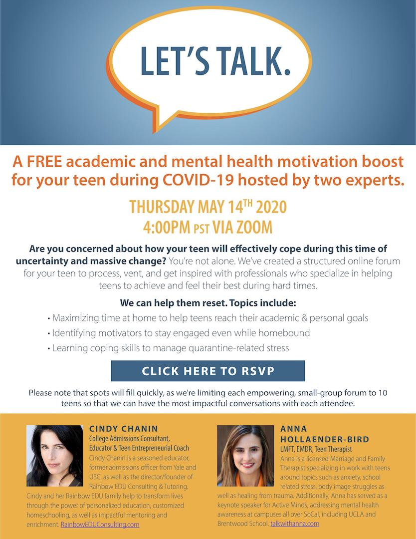 Let's Talk: A Free Academic and Mental Health Motivation Boost For Parents & Teens During COVID-19