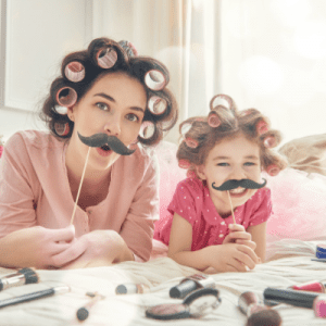 Mom and daughter in funny disguise