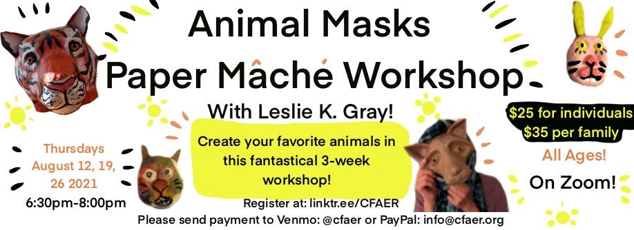 Animal Masks Paper Mache Workshop
