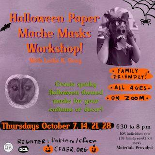 Halloween Paper Mache Masks Workshop